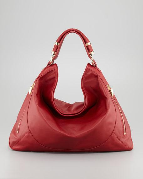 Joni Leather Zipper Hobo Bag, Cherry