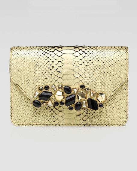 Luciana Metallic Python Clutch Bag, Champagne