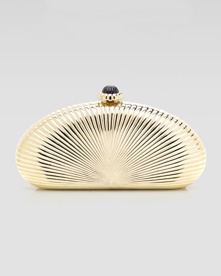 Concha Large Ribbed Half-Oval Minaudiere