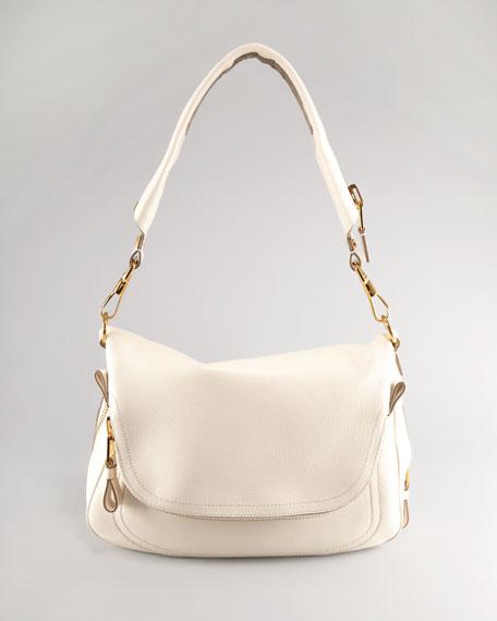 Large Jennifer Flap-Top Bag, Beige