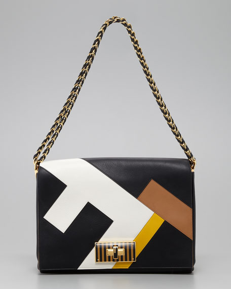 Claudia FF Leather Shoulder Bag, Black/Multicolor