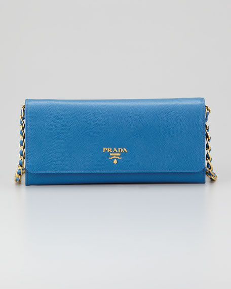 Saffiano Wallet on a Chain, Cobalt