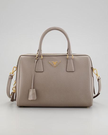 Saffiano Shoulder-Strap Bowler Bag, Gray (Argilla)