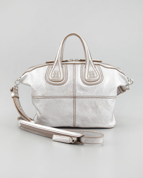Nightingale Metallic Micro Satchel Bag, Silver