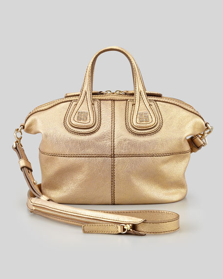 Nightingale Metallic Micro Satchel Bag, Gold