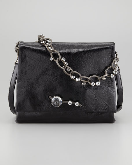 Vitello Chain Shoulder Bag, Black
