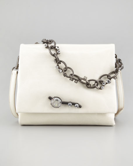 Vitello Chain Shoulder Bag, Off White
