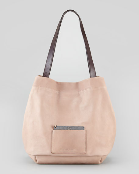 Napa Leather Tote Bag With Removable Mirror, Taupe