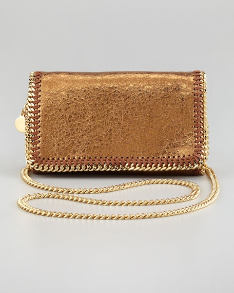 Crackled Metallic Crossbody Bag, Bronze