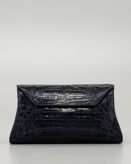 Crocodile Convertible Clutch Bag, Navy