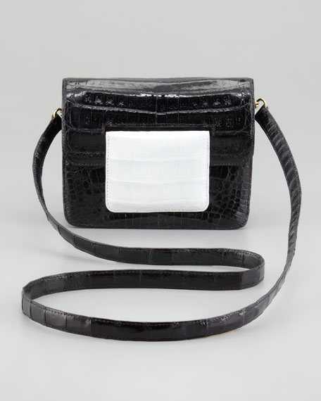 Front-Flap Crocodile Crossbody Bag, Black/White