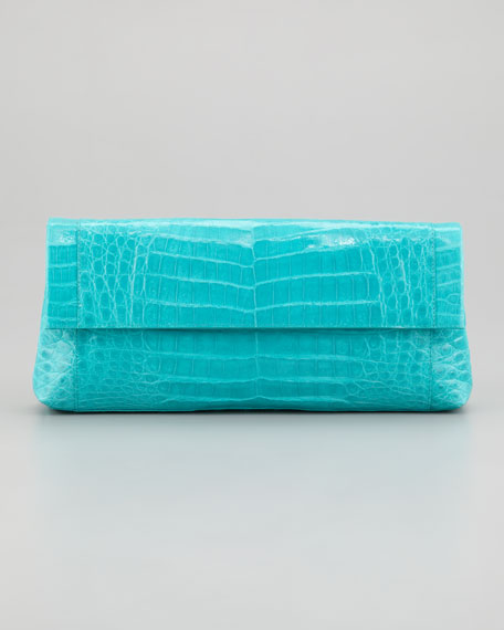 Flap-Front Crocodile Clutch Bag, Turquoise
