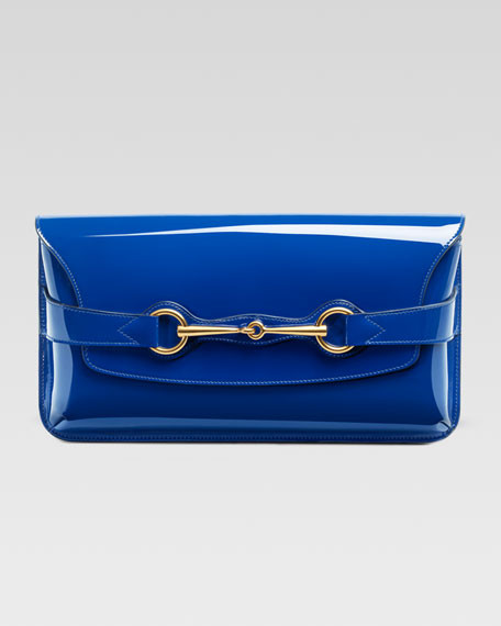 Bright Bit Patent Leather Clutch Bag, Sapphire