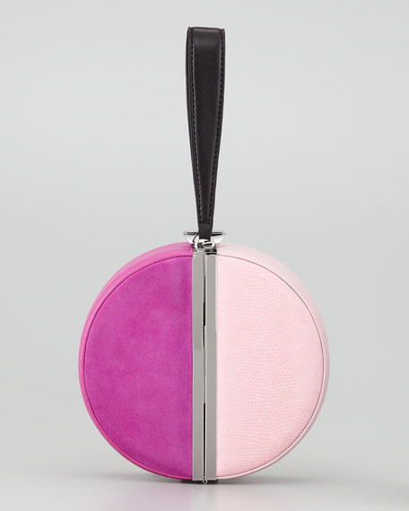 Colorblock Circle Box Clutch Bag, Multicolor