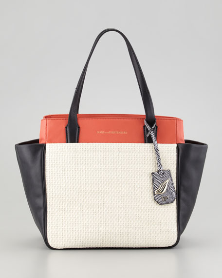 On the Go Raffia and Leather Colorblock Tote Bag