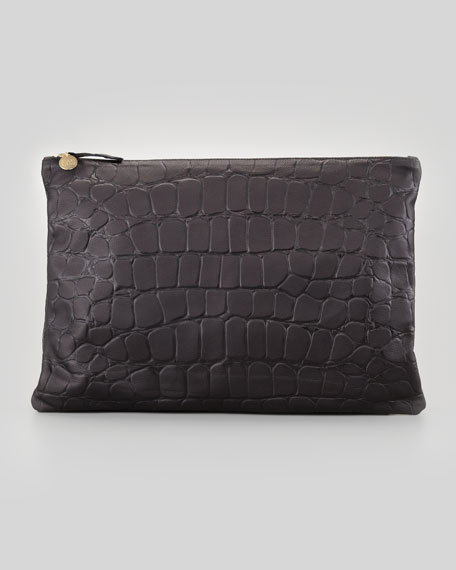Oversized Tortoise-Embossed Clutch