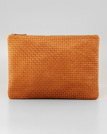 Oversized Basket-Weave Clutch, Camel