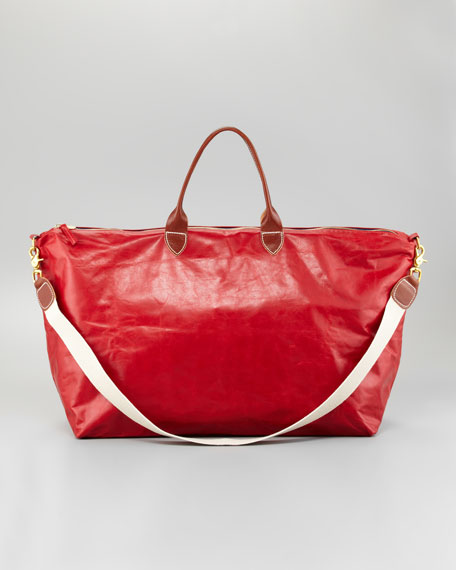 Dyed Leather Weekender, Red
