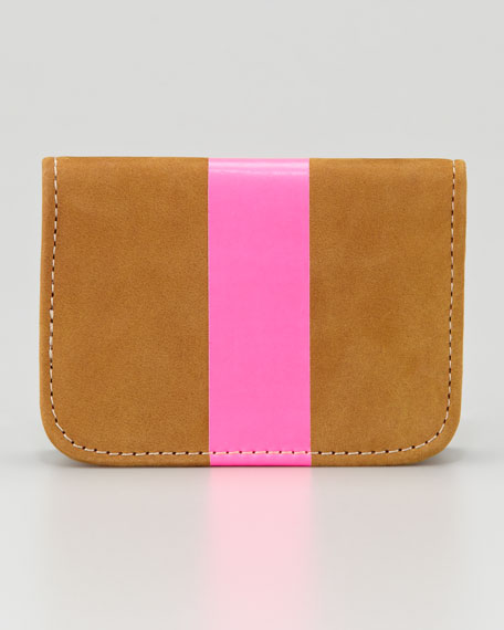 Leather Card Case, Caramel/Neon Pink