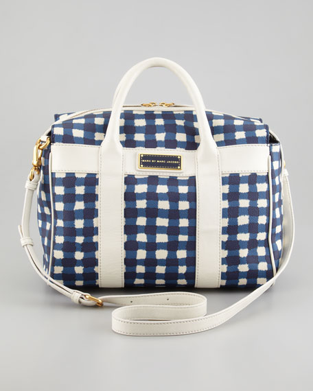 Marc'd and Check'd Small Satchel Bag, Blue/White