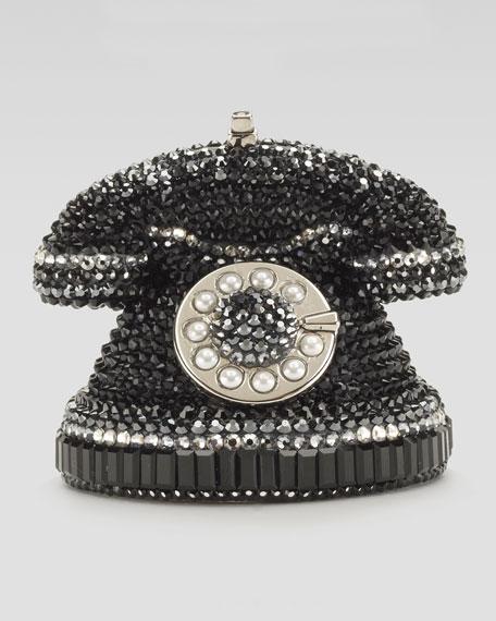 Mini Ringaling Rotary Phone Minaudiere, Black