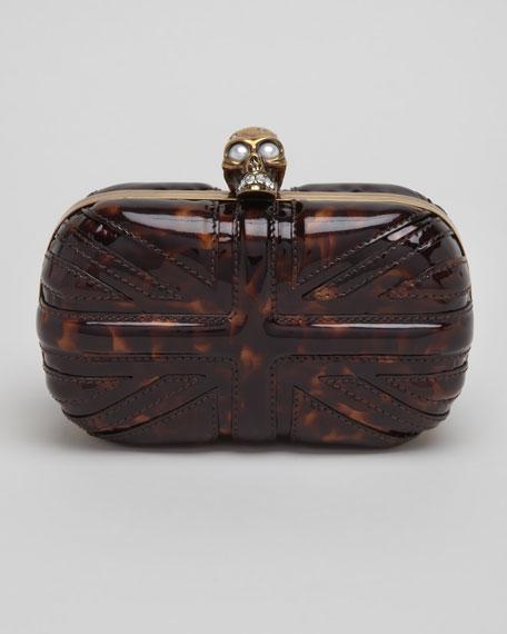 Britannia Skull-Clasp Clutch Bag, Tortoise