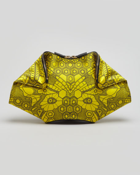 De-Manta Butterfly-Print Clutch Bag, Bright Yellow