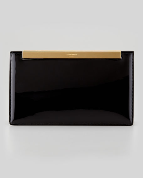 Lutetia Patent Leather Clutch Bag, Black