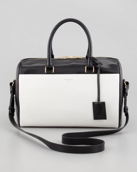 Classic Duffel 6 Small Bi-Color Tote Bag, Black/White