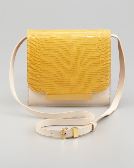 Classic Lizard Shoulder Bag, Yellow