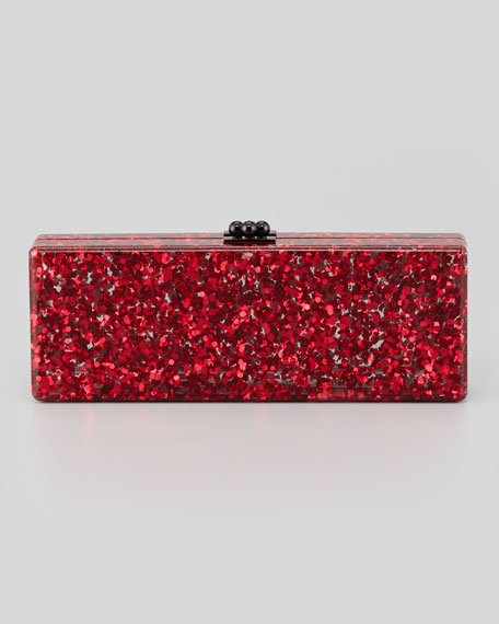 Flavia Acrylic Confetti Clutch Bag, Red