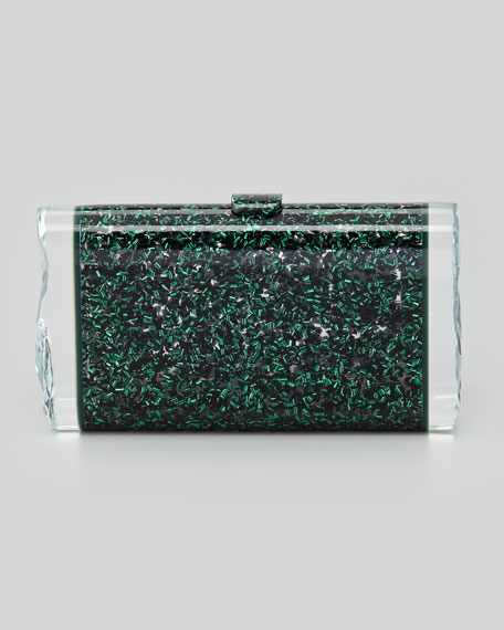 Lara Confetti Clutch Bag, Green