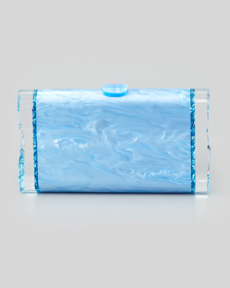 Lara Pearlescent Acrylic Clutch Bag, Blue
