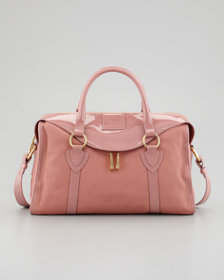 Fulton Large Patent-Trim Satchel Bag, Rose
