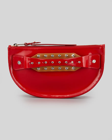 Studded Hand-Strap Coin Clutch Bag, Lipstick Red