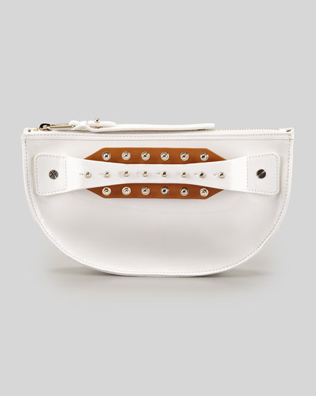 Studded Hand-Strap Coin Clutch Bag, White