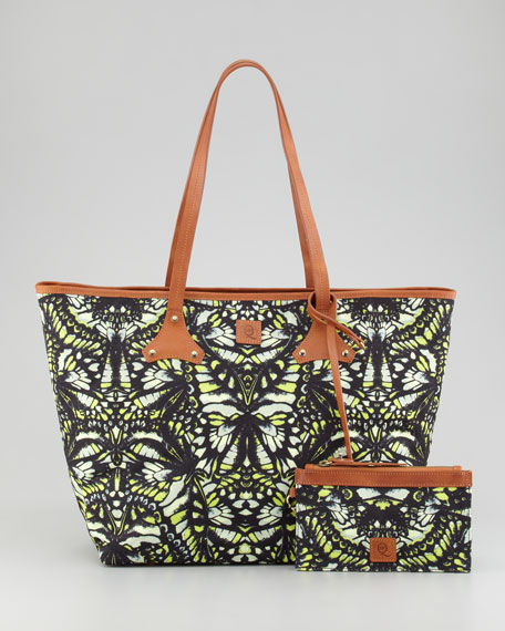 Butterfly-Print Canvas Shopper Tote Bag