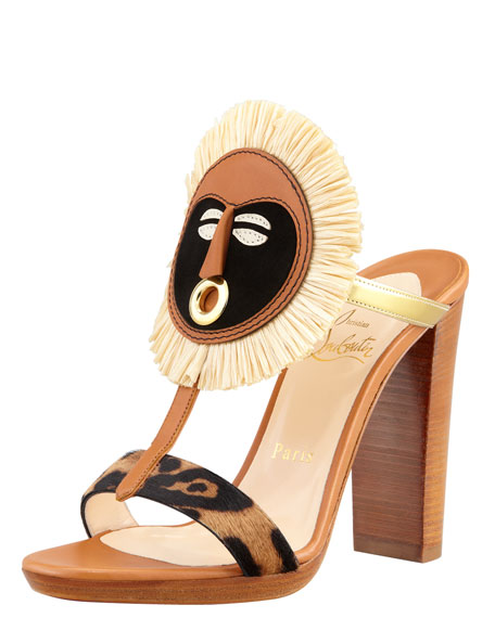 Makeda Mask-Cuff Calf Hair T-Strap Sandal