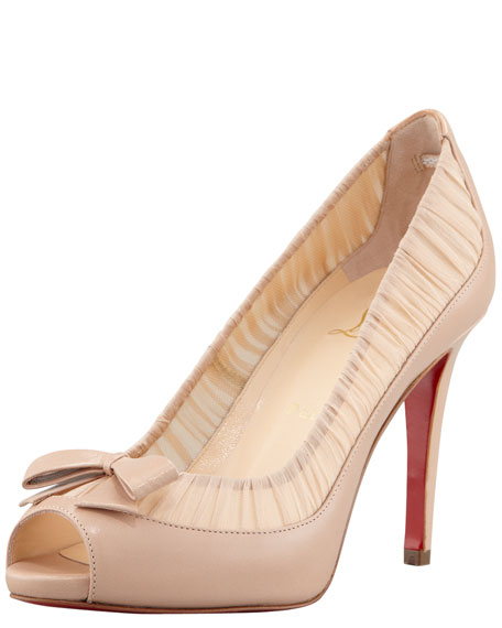 Angelique Chiffon & Leather Red Sole Pump, Rose