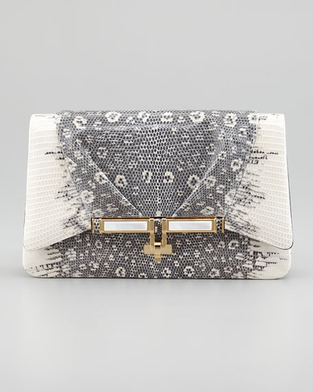 Priscilla Lizard Clutch Bag, Gray