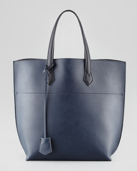 Leather Shopping Tote Bag, Navy/Black