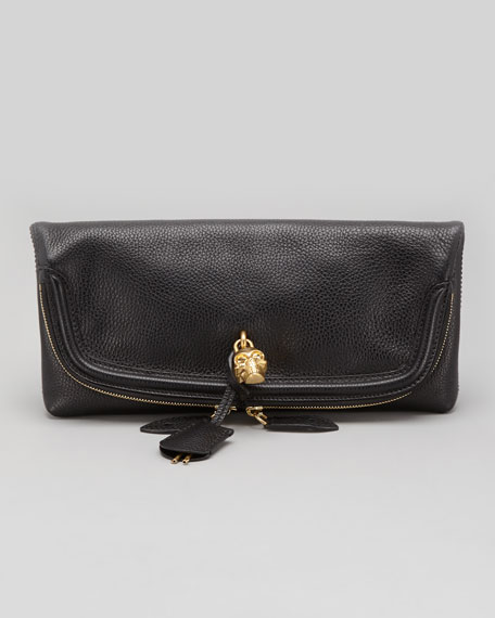 Skull Padlock Fold-Over Clutch Bag, Black