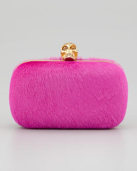 Classic Calf Hair Skull-Clasp Clutch, Pink