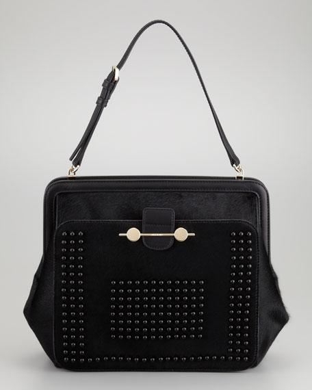 Daphne Studded Calf Hair Shoulder Bag, Black
