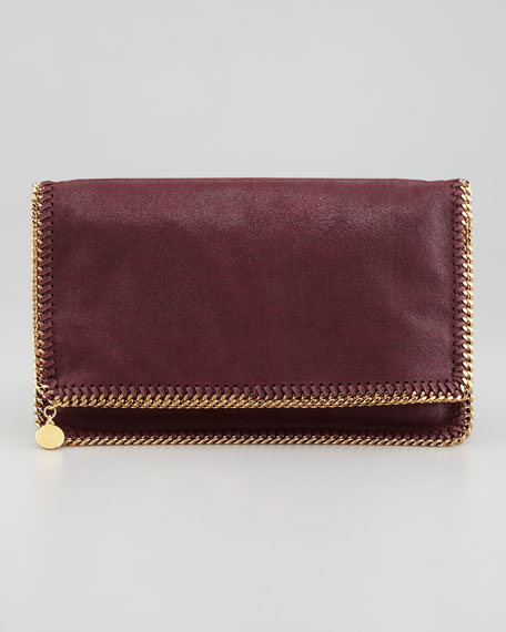 Falabella Fold-Over Clutch Bag, Plum