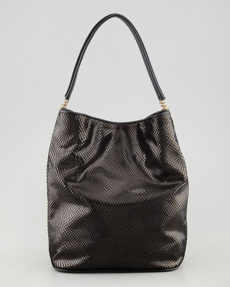 Python-Print Chain-Side  Velvet Hobo Bag, Black