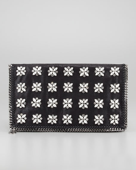 Falabella Crystal-Sewn Fold-Over Clutch Bag, Black