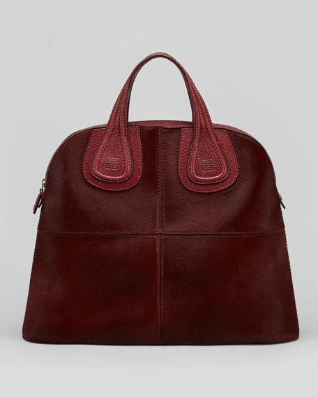 Nightingale Medium Structured Calf Hair Satchel Bag, Burgundy