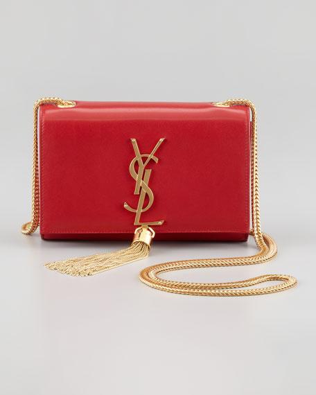 Cassandre Small Tassel Crossbody Bag, Red