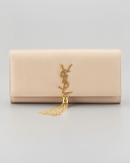 Cassandre Tassel Clutch Bag, Off White